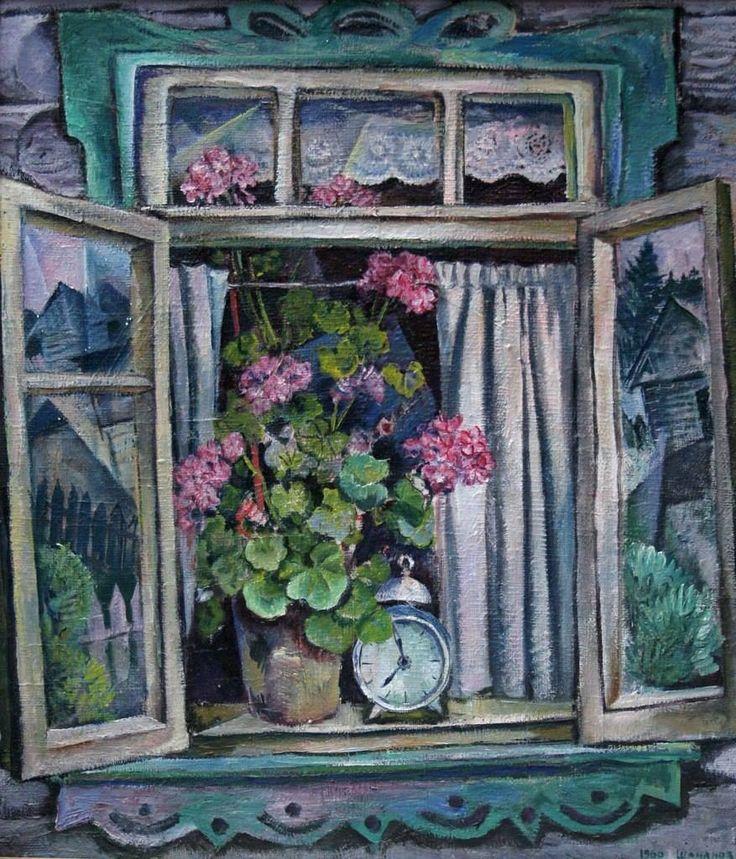Шаманов Борис Иванович (1931-2008) «Деревенское окно» 1966