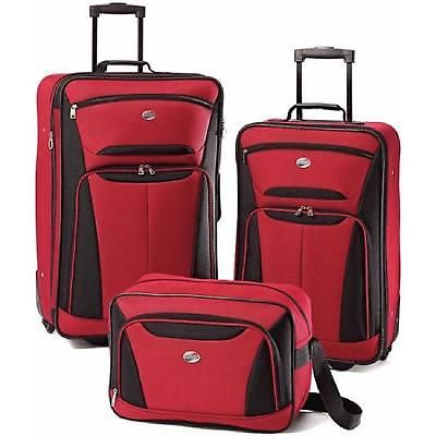 3 Pieces Luggage Travel Set Bag Lightweight Suitcase Large Trolley Interior Red
