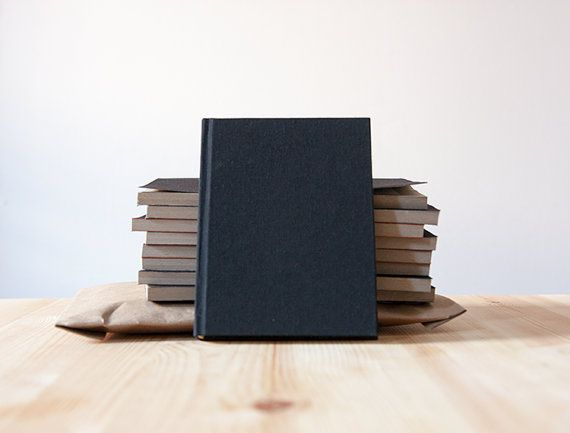 Small Black Book Cloth Hardcover Notebook  Journal  by knotbooks