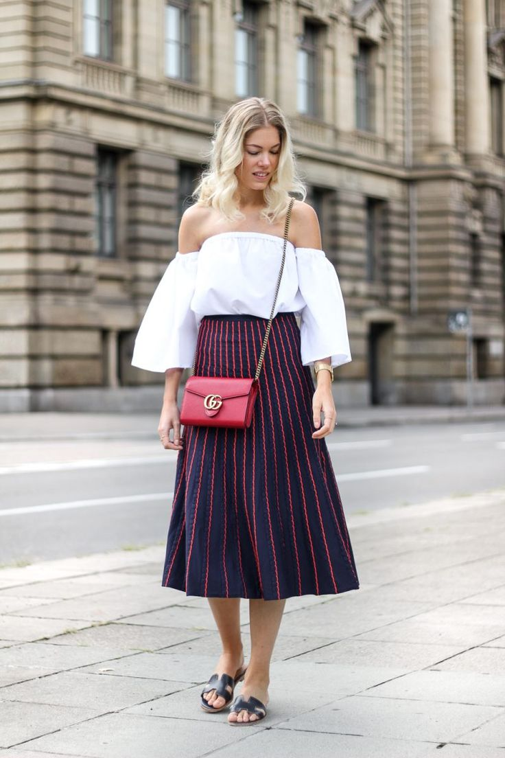 Street Style, Street style trends, Gucci, Midi skirts, summer outfits, Blogger style