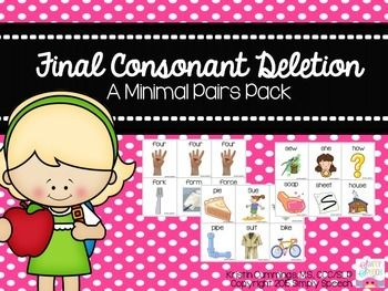 This activity includes 39 pairs of cards to target final consonant deletion. Each pair includes the word and a picture to go with the word. Some examples include: Bee and BeachBow and BoatWeigh and WakePie and Pipe
