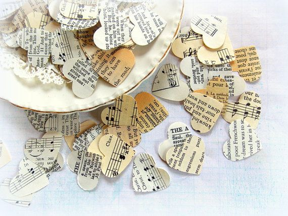 Vintage Wedding Heart Confetti #confetti #partyfavor