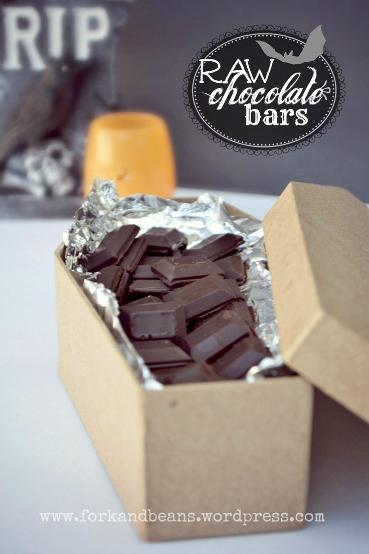 Raw Chocolate Bars - Makes 1/2 c. raw chocolate  1/2 c. coconut oil, melted  6 heaping Tbs of raw cacao powder (or regular unsweetened cocoa powder will do, if you don't have cacao)  1/4 cup of maple syrup  pinch of salt  Mix all of the ingredients into a bowl.  Pour into a chocolate mold. Freeze for 15 minutes or until set.  Store raw chocolate in fridge until ready to use.