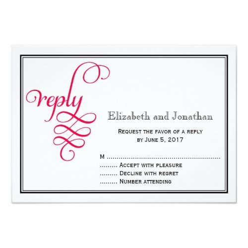 Christian Wedding Invitations Deep Rose Pink Script Wedding Reply Card