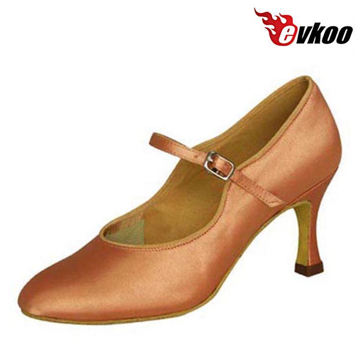 Sapatos de salão Evkoodance 4 Diferentes Cores Preto Branco Khaki Tan Cetim Modernos sapatos de Dança Sapatos De Dança de Salão Para Senhoras Evkoo-013