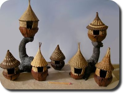 "1"" scale bird houses by IGMA Artisan Lidi Stroud."