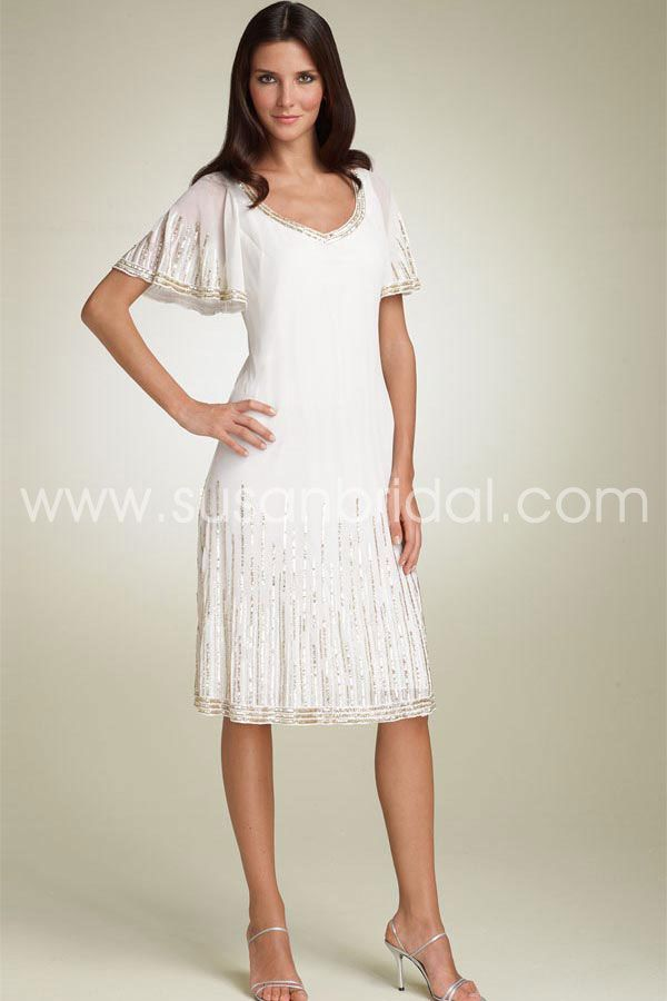 Casual charming white sheath column scoop knee length for Mother of the bride dresses casual wedding