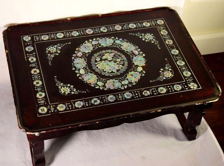 ***SOLD***Oriental Wood Laquer Mother of Pearl Inlaid Bed Tray Serving Tray #Unknown