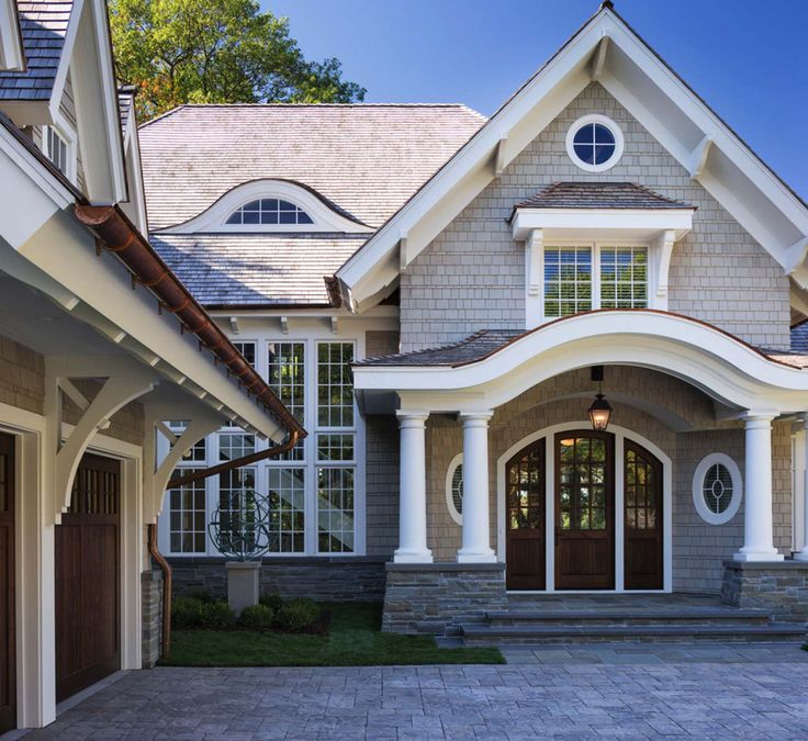 External Home Design Interior: Shingle Style Lakeside Cottage Mansion