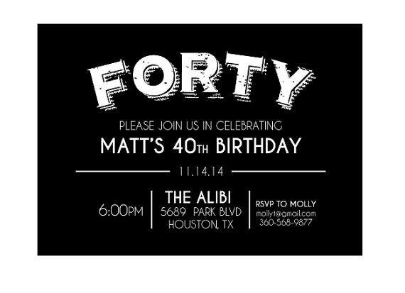 the 25+ best 40th birthday invitations ideas on pinterest | 40, Birthday invitations