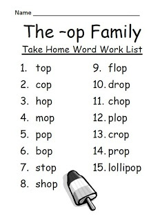 Freebie Fern Smith S The Op Family Spelling Word Work Lists Tests Word Families Spelling Lists Spelling Words