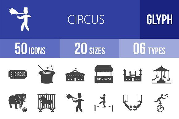 50 Circus Glyph Icons by IconBunny on @creativemarket