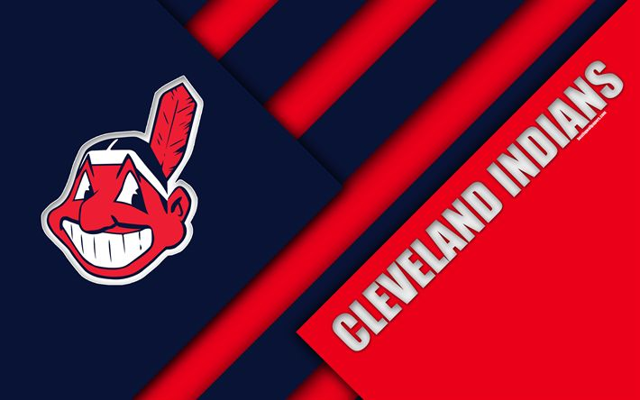 Download wallpapers Cleveland Indians, MLB, 4K, blue pink abstraction, logo, material design, baseball, Cleveland, Ohio, USA, Major League Baseball