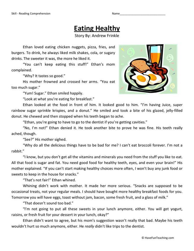 Reading Prehension Worksheet Eating Healthy