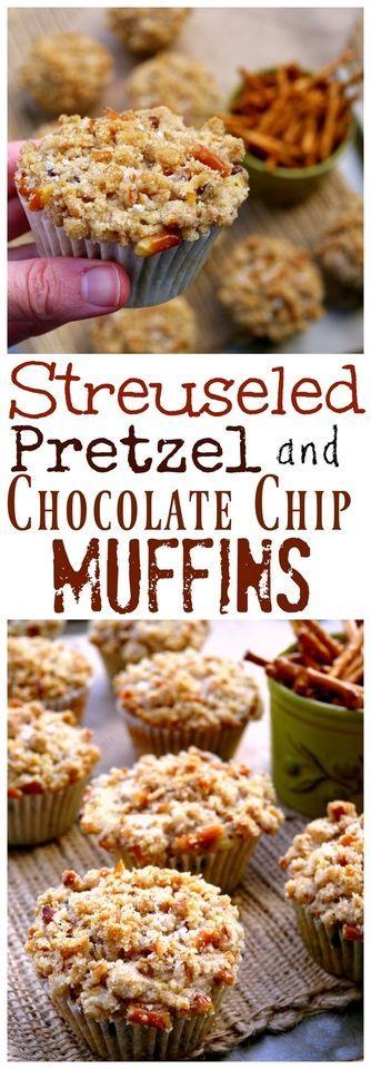 Streuseled Pretzel and Chocolate Chip Buttermilk Muffins