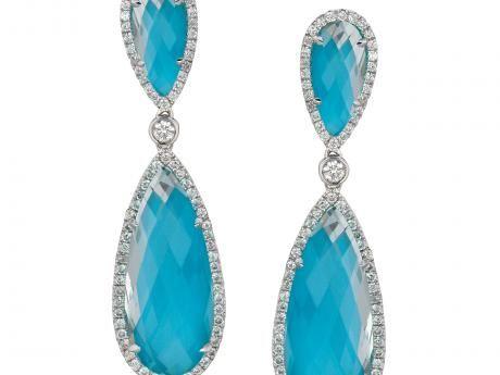 Diamond Turquoise Earrings from S.V.S. Fine Jewelry | Oceanside, NY