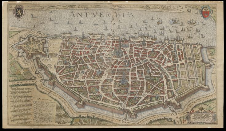 17th Century map of Antwerp, Belgium