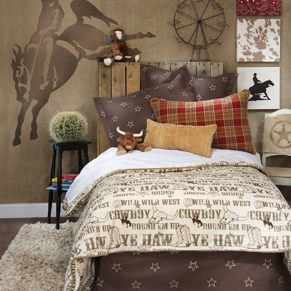 horse wall mural in cowboy theme bedroom for boys