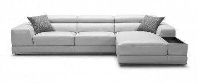 Bergamo Sectional Leather Modern Sofa Grey