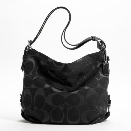 Authentic Coach Signature 24CM Zip Duffle Hobo Bag 15067 Black for only $171.73