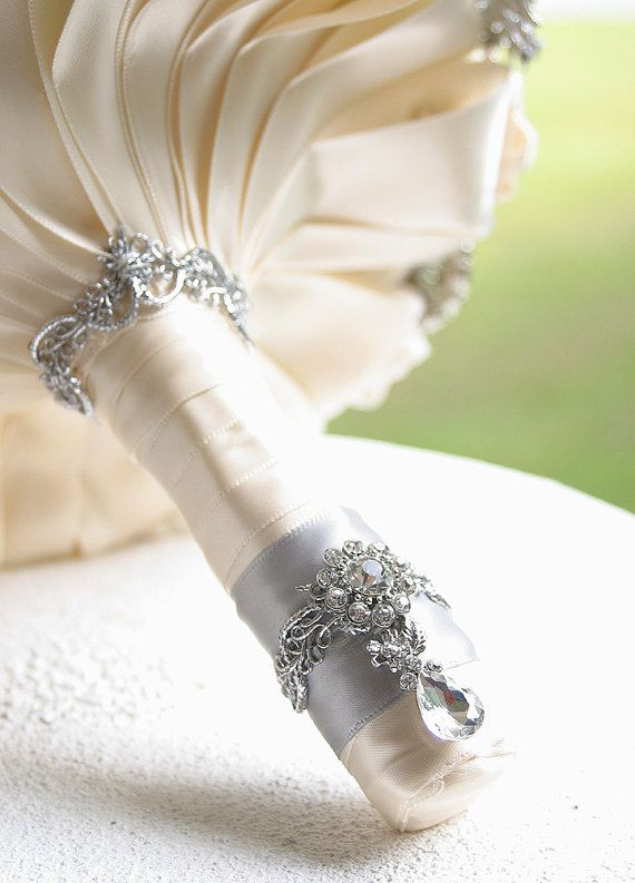 Champagne Wedding Brooch Bouquet. Deposit on made by annasinclair