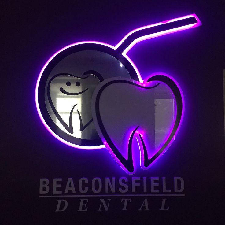 Purple! LED reception logo. Berwick dentist. Berwick dentists.
