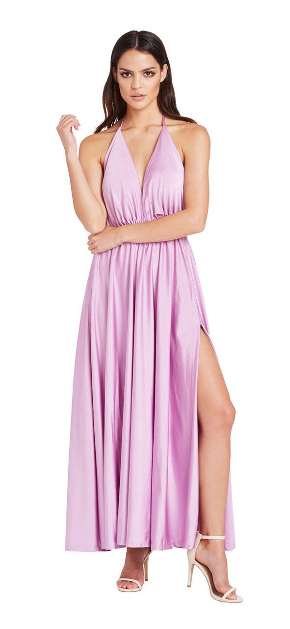 Santorini Double Split Maxi Dress (Pink) - Miss G