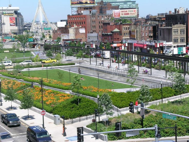 Across the city center, in place of the old Highway – a Greenway. Boston, U.S.A.