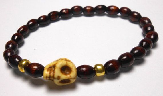 Yellow Skull Stretch wood bead Bracelets  Arm Candy by ShopJosette