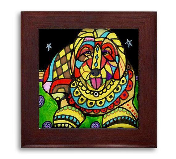 Goldendoodle Lovers Gift Dog Folk Art Ceramic Framed Tile by Heather Galler - Ready To Hang Tile Frame Gift