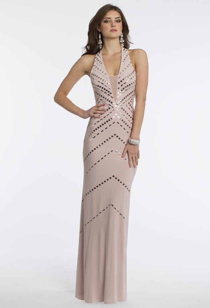 Camille La Vie Jersey Long Studded Halter Prom Dress in Blush Pink and Silver