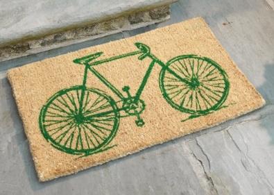 bicycle print on a door mat