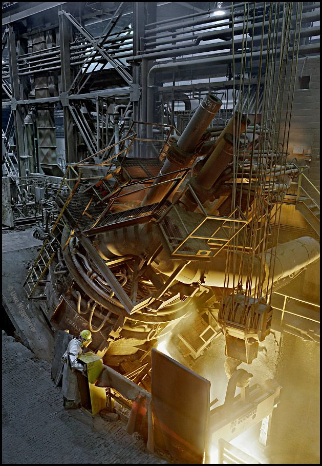 Tapping the electric arc furnace - Latrobe Speciality Steel, Latrobe Pennsylvania
