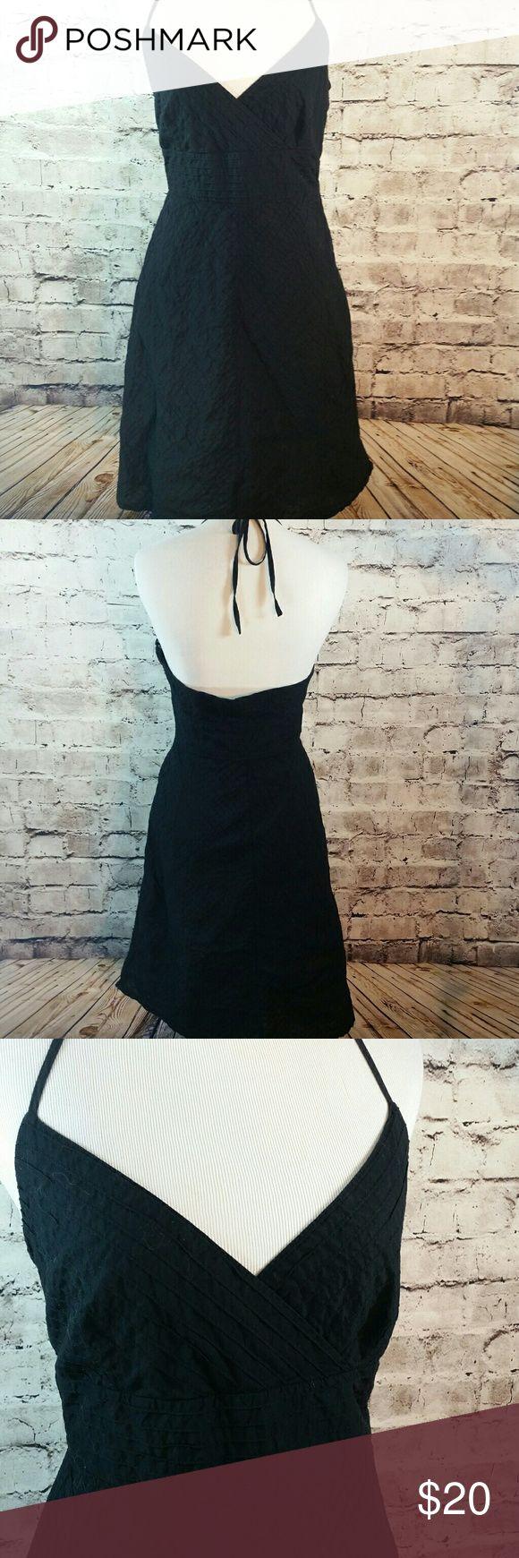 Vtg Gap black cotton tie halter sundress Vtg Gap black cotton tie halter sundress..tiny sewn pleats great texture GAP Dresses Backless