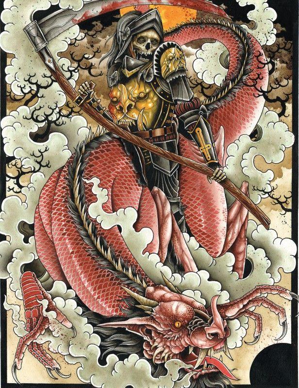Mindzai Creative | Art Prints | Watercolor : Derek Noble - Death & the Dragon