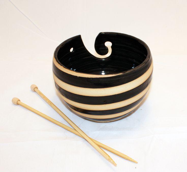 like a bumble beeDiy Ideas, Yarns Bowls, Elizabeth Zimmermann, Clay Handmade, White Clay, Diy Yarns, Bumble Bees, Handmade Yarns, Black Stripes