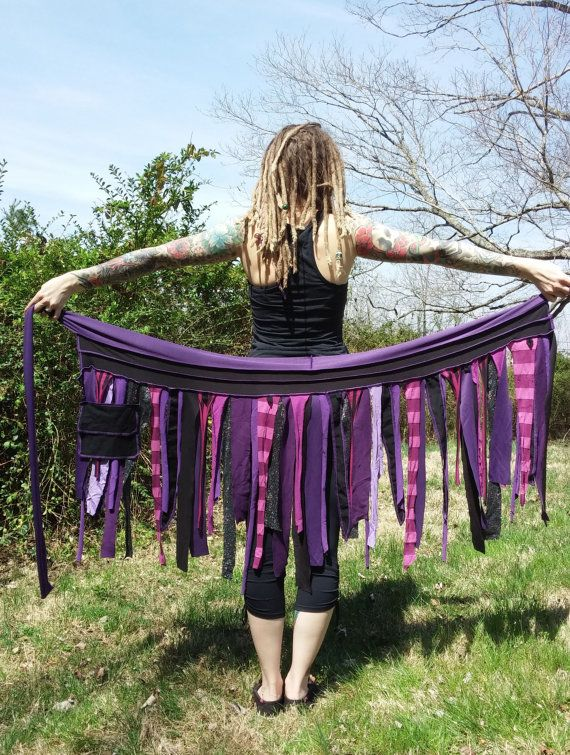 This wrap skirt was created entirely out of pink, purple and black scraps left over from previous projects. The scrap falls look so pretty while
