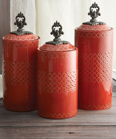 Take A Look At This Red Antiqued Canister Set By Jay Import On #zulily Today