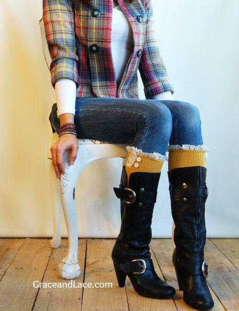 The Milly Lace  Mustard Yellow cableknit Boot by GraceandLaceCo, $34.00