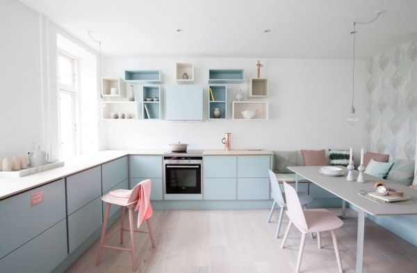 Lovely kitchen from the Danish company TVIS styled by Katrine Kaul #kitchen #allgoodthingdanish #tvis #pastel