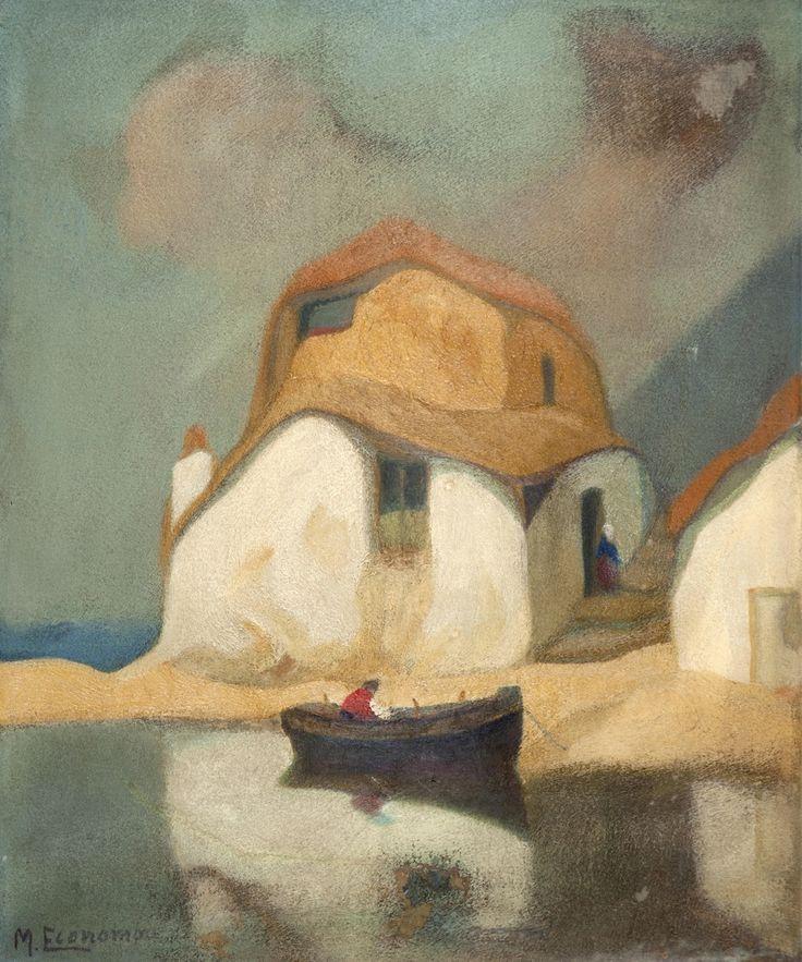 Michalis Oikonomou (grec, de 1.888 à 1.933), Maisons avec bateau, 1927. Huile sur flanelle, 61 x 50 cm.