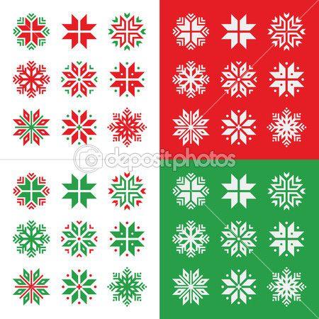 Boże Narodzenie, zima, czerwony i zielony śniegu wektor zestaw ikon — Ilustracja stockowa #35663629