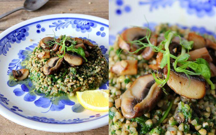 Mikyna v kuchyni: Pohankové rizoto se špenátem a pečenými žampióny / Buckwheat risoto