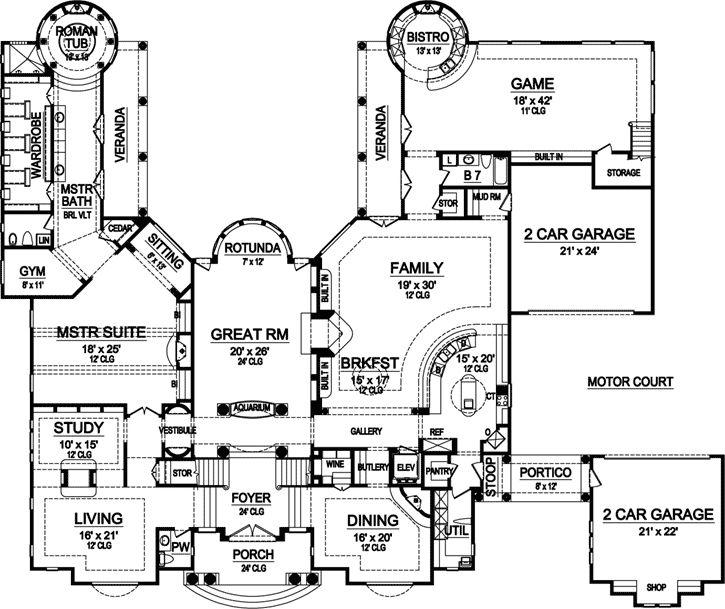 552 best floorplans images on pinterest master suite for Luxury garage plans