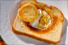 Cracker Barrel Egg in a Basket recipe. This wonderful breakfast item is simple elegance at its best: grilled sourdough bread with an egg cooked gently inside this toasted delight.