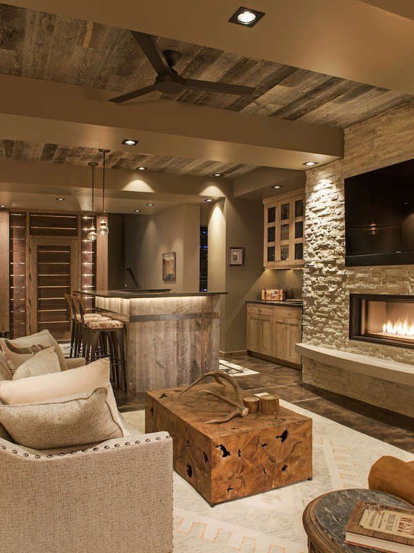 11 Breathtaking Ideas For A Wood Ceiling Basement Living Rooms Rustic Family Room Rustic Basement