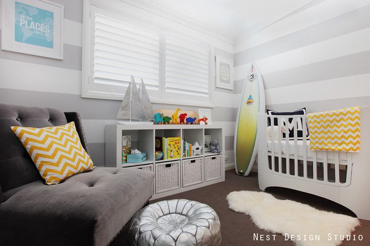 This modern nursery is neutral, fun and just plain cool.Marley Room, Boys Nurseries, Nests Design, Design Ideas, Kids Room, Baby Room, Beach Inspired, Design Studios, Bedrooms Ideas