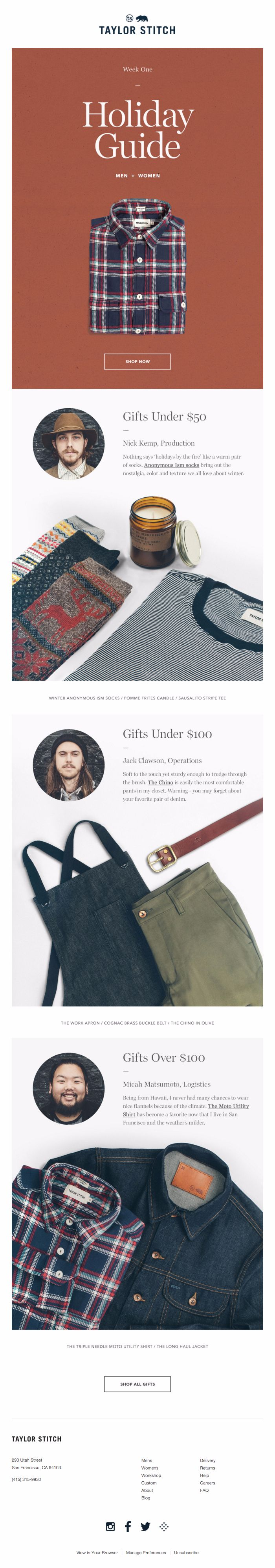 Taylor Stitch Holiday Guide                                                                                                                                                                                 More