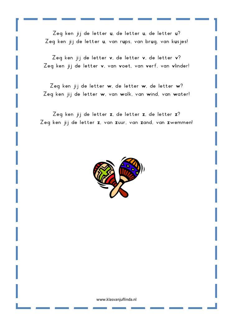 * Letterliedjes op de wijs van: Zeg ken jij de mosselman...3-3