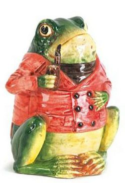 Majolica Pottery; Continental, Humidor, Frog with Pipe, 7 inch.